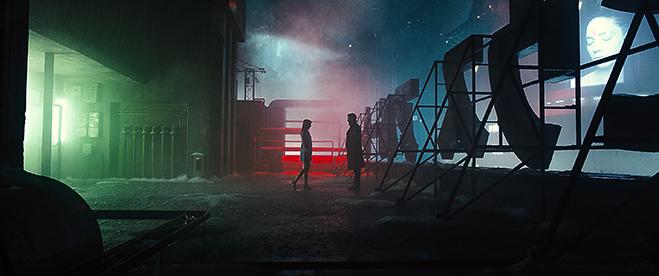 Ana de Armas as Joi and Ryan Gosling as K in Blade Runner 2049.